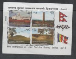 NEPAL  , 2014, MNH, BIRTHPLACE OF LORD BUDDHA, TEMPLES, SHEETLET OF 4v - Buddhism