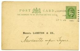 PRE-PRINTED POSTCARD - BANK OF LIVERPOOL / ADDRESS - LAMBTON BANK, NEWCASTLE, 1906 - Liverpool