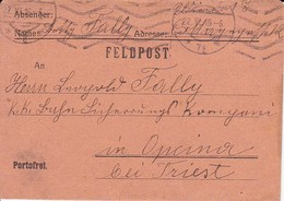 Feldpostbrief - Wien Nach K.k. Eisenbahn Sicherungs Kompagnie Opcina Bei Triest - 1916 (36077) - Briefe U. Dokumente