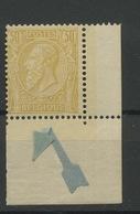 50 ** Coin De Feuille (se Détache)  Cote 45,-E - 1884-1891 Leopold II