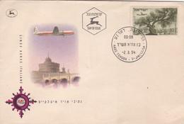 LINEE AEREE ITALIANE LAI SOBRE ENVELOPE FDC OBLITERE HARE YEHUDA 1954- BLEUP - FDC