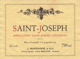 Cotes Du Rhone : SAINT-JOSEPH : J.marsanne & Fils : 07 Mauves : étiquette Décollée ( Pas De Frais Paypal ) - Côtes Du Rhône