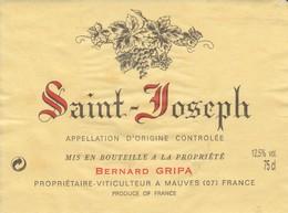 Cotes Du Rhone : SAINT-JOSEPH : Bernard Gripa : 07 Mauves : étiquette Décollée ( Pas De Frais Paypal ) - Côtes Du Rhône
