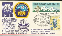 J) 1991 KOREA, 17 WORLD JAMBOREE-IDAHO-USA, 40TH ANNIVERSARY SCOUTS ON STAMPS SOCIETY INTERNATIONAL, LANDSCAPE, POSTAL S - Corée Du Sud