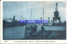 97882 ARGENTINA BAHIA BLANCA BS AS RAILROAD PORT PUERTO INGENIERO WHITE MUELLES & SHIP POSTAL POSTCARD - Argentina