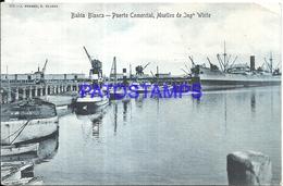 97892 ARGENTINA BAHIA BLANCA BS AS PORT PUERTO COMERCIAL & MUELLES DE INGENIERO WHITE SHIP POSTAL POSTCARD - Argentina