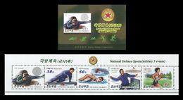 North Korea 2017 Mih. 6435/39 National Defence Sports. Swimming. Athletics. Shooting (booklet) MNH ** - Corée Du Nord