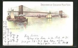 Lithographie New York, NY, Brooklyn Bridge - NY - New York