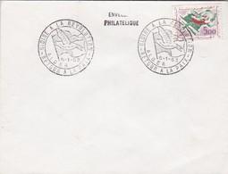 SOBRE ENVELOPPE PHILATELIQUE. GLOIRE A LA REVOLUTION. RETOUR A LA PAIX ALGER 1963. ROSE STAMP- BLEUP - Algerije (1962-...)