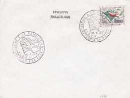 SOBRE ENVELOPPE PHILATELIQUE. GLOIRE A LA REVOLUTION. RETOUR A LA PAIX ALGER 1963. GREY STAMP- BLEUP - Algerije (1962-...)