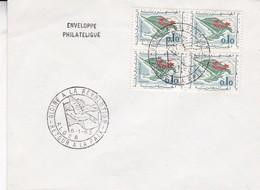 SOBRE ENVELOPPE PHILATELIQUE. GLOIRE A LA REVOLUTION. RETOUR A LA PAIX ALGER 1963. BLOQUE STAMP- BLEUP - Algerije (1962-...)