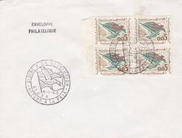 SOBRE ENVELOPPE PHILATELIQUE. GLOIRE A LA REVOLUTION. RETOUR A LA PAIX ALGER 1963. BLOQUE STAMP AVEC BORD DU PLAQ- BLEUP - Algerije (1962-...)