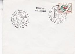 SOBRE ENVELOPPE PHILATELIQUE. GLOIRE A LA REVOLUTION. RETOUR A LA PAIX ALGER 1963. BROWN STAMP- BLEUP - Algerije (1962-...)
