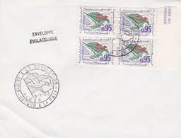 SOBRE ENVELOPPE PHILATELIQUE. GLOIRE A LA REVOLUTION. RETOUR A LA PAIX ALGER 1963.BLOCK STAMP AVEC BORD DU PLAQUE- BLEUP - Algerije (1962-...)