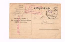 """Feldpostkarte.Expédié De Cöln à Anvers.""""Festungslazarett VI,Cöln.Censure """"Wahn Schiessplatz"""" - Kriegsgefangenschaft"""