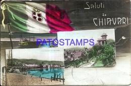 97897 ITALY CHIAVARI GENOVA FLAG MULTI VIEW POSTAL POSTCARD - Italy