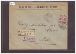 BIEL - BIENNE - LETTRE RECOMMANDEE - BANK IN BIEL  ( RIEN AU DOS ) - 1882-1906 Armoiries, Helvetia Debout & UPU