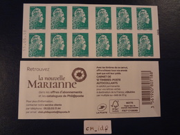 2018  CARNET MARIANNE L'ENGAGÉE LETTRE VERTE  DATE 15.05.18 En POSITION BASSE VARIANTE COUVERTURE  FONCÉ - Definitives