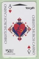 New Zealand - 1994 Christchurch Casino $50 Ace Card - NZ-A-61 - Used - New Zealand