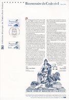""""""" 200 ANS DU CODE CIVIL / NAPOLEON """" Sur Document Philatélique Officiel De 2004 N° YT 3644. DPO - Napoleon"""