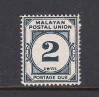 Malayan Postal Union D15 1953 Postage Due 2c Deep Slate Blue,mint Hinged - Malaya (British Military Administration)