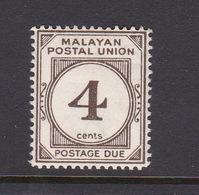 Malayan Postal Union D17 1953 Postage Due 4c Sepia Perf 14,mint Hinged,$ 0.50 - Malaya (British Military Administration)
