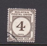 Malayan Postal Union D17 1953 Postage Due 4c Sepia Perf 14,used - Malaya (British Military Administration)