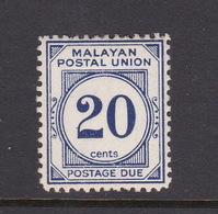 Malayan Postal Union D21 1951 Postage Due 20c Blue,perf 14,mint Hinged - Malaya (British Military Administration)