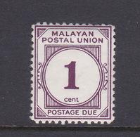 Malayan Postal Union D22a 1965 Postage Due 1c Plum Perf 12,mint Hinged - Malaya (British Military Administration)