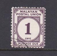 Malayan Postal Union D22a 1965 Postage Due 1c Plum Perf 12,used - Malaya (British Military Administration)