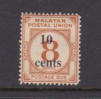 Malayan Postal Union D29 1964 Postage Due 10 Cents On 8c Yellow-orange,mint Hinged - Malaya (British Military Administration)