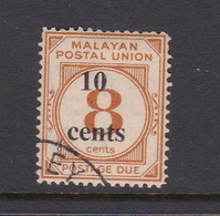 Malayan Postal Union D29 1964 Postage Due 10 Cents On 8c Yellow-orange,used - Malaya (British Military Administration)