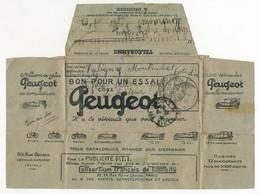 Télégramme Illustré - Bon Pour Un Essai Chez PEUGEOT - 1924 - Froissé En Partie - Télégraphes Et Téléphones