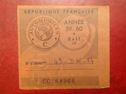 Vignette  Automobile 1959 - Vieux Papiers