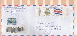 Costa Rica 2007 Cover Registered To USA Flag Arms - Costa Rica