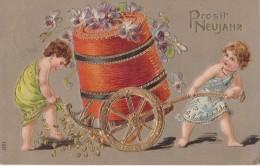 Carte Prosit Neujahr En Relief Circulée En 1910 - Nouvel An
