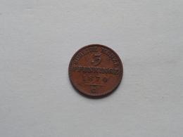 PRUSSIA - 3 Pfenninge 1870 C / KM 482 Wilhelm I EINEN THALER 120 ( Uncleaned - For Grade, Please See Photo ) ! - [ 1] …-1871 : Etats Allemands