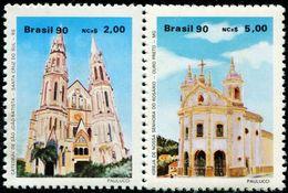BX0850 Brazil 1990 Church Building 2V MNH - Unused Stamps