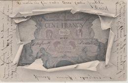 18 / 8 / 232. -   CPA. BILLET. DE. BANQUE  100 FRANCS. - PUB. PIPE   BIJOU - Advertising