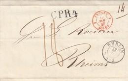 LETTRE. 12 NOV 42. BERLIN POUR RHEIMS.PRUSSE  GIVET 5. CPR4. TAXE PLUME 18 - Marcophilie (Lettres)