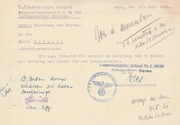Bon De Réquisition / Feldpost L38399 -Luftgaupostamt Dresden - WW II