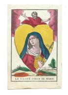 IMAGE PIEUSE Polychrome Du XVIIIe Siècle...Le Sacré Coeur De Marie... 2 Scans - Images Religieuses