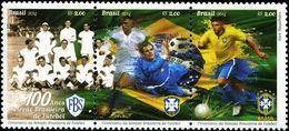 BX0876 Brazil 2014 Football Club Centennial Flag 3V MNH - Brazil