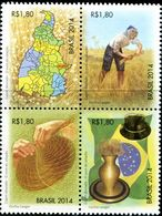 BX0878 Brazil 2014 Scenery Map Flag Farmers 4V MNH - Unused Stamps
