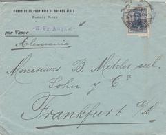Lettre Por Vapor - K. Fr August - Banco De La Provincia De Buenos Aires Argentine Argentina Deutschland Frankfurt - Argentina