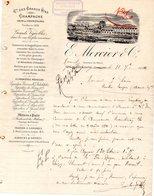 51 MOREUIL FACTURE COURRIER DU 11/07/1884 CHAMPAGNE E MERCIER & CO A MOREUIL  POUR J SORIN A MORTIER SAUJON 17 - Food
