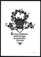 B6082 - TOP Plischke - Glückwunschkarte - Klappkarte DDR - Wein - Silhouettes