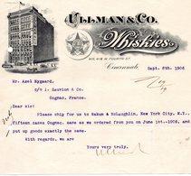 USA CINCINNATI FACTURE COURRIER ILLUSTREE DU 08/09/1906 ULLMAN & CO WHISKIES A CINCINNATI POUR MR J SAUVION A COGNAC - United States