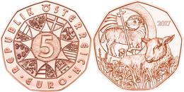 """AUSTRIA  5€ 2.017  2017  COBRE / COPPER """"EASTER LAMB - CORDERO DE PASCUA""""  SC/UNC T-DL-12.206 - Austria"""