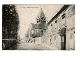 60 Henonville Rue De L' Eglise Cpa Carte Animée Animation Cachet Henonville 1926 - Otros Municipios